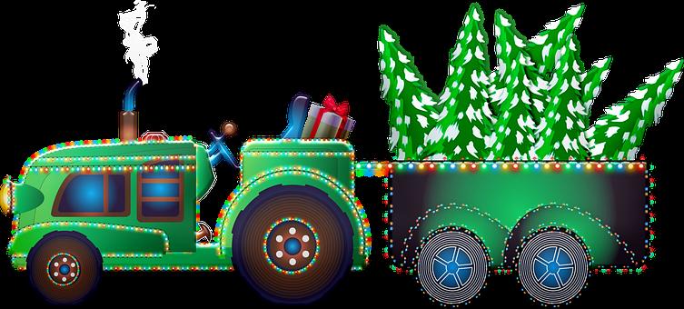 Christmas Tractor, Christmas Tree, Farmer