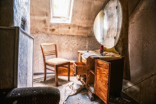 Abandoned Places, Room, Chair, Chest Of Drawers, Decay