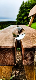 Bench, Lensball, Ball, Lens, Light, Glass, Objective