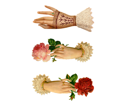 Vintage, Hands, Roses, Ring, Ruffles, Old, Romantic