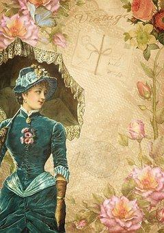 Flowers, Paper, Victorian, Vintage, Lady, Fashion