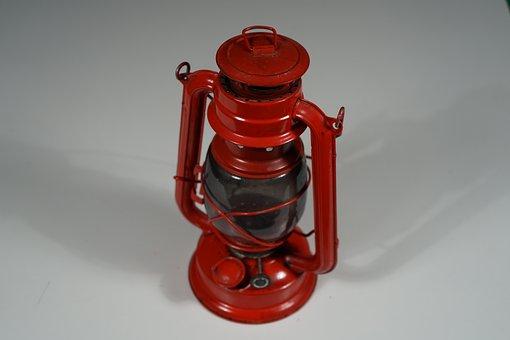 Lamp, Kerosene, Red, Lighting, Old, Nostalgic, Glass