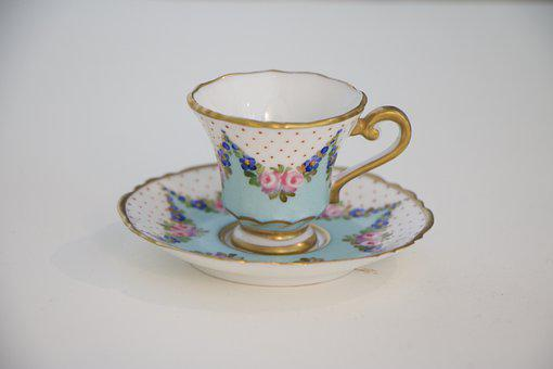 Mini, Teacup, Cup, Porcelain, Fine, Gray Cup