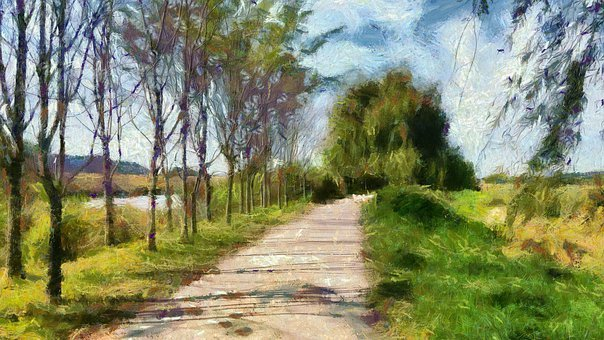 Oil Painting, Landscape, Esplanade, Abstract