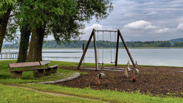 Playground, Swing, Benches, Plant, Green, Nature, Lake