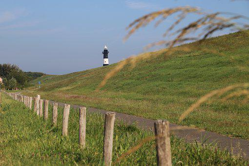 Lighthouse, Post, Nature, Blades Of Grass, Road, Sky
