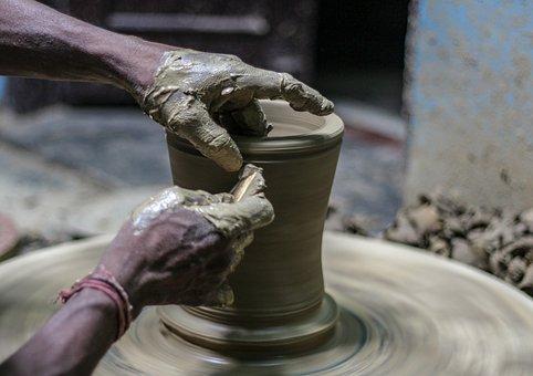 Pottery, Mud, Clay, Craft, Pot, Potter, Wheel, Skill