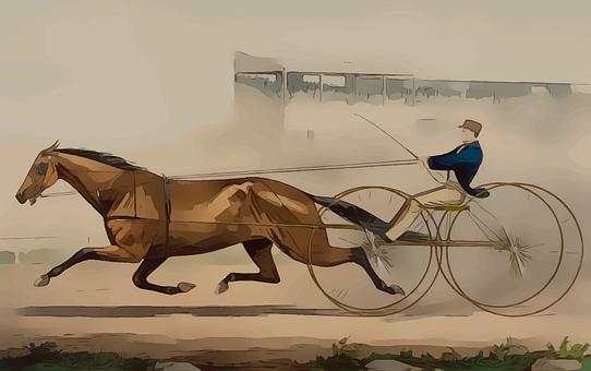 Vintage, Horse, Racing, Antique, Buggy, Nostalgia, Race
