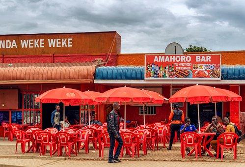 Kigali, Rwanda, Africa, Bar, Chairs, Red, Africans