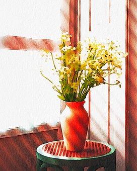 Watercolor, Floral, Still Life, Vase, Flowerpot
