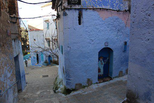 Chefchaouen, Street, Morocco, Blue, Architecture