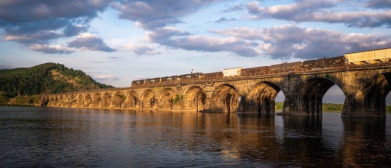 Train, Bridge, Railway, Railroad, Travel, Landscape
