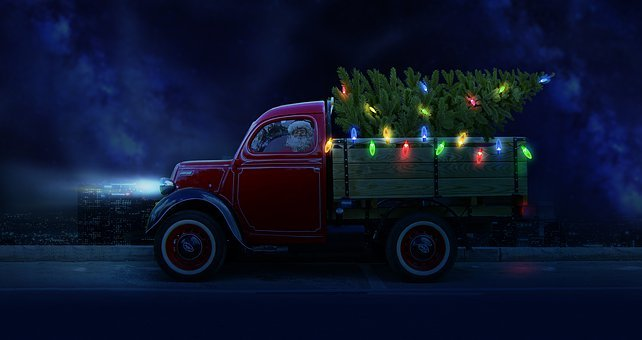 Christmas, Tree, Truck, Santa, Santa Claus, Vehicle