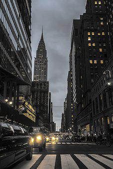 New York, Manhattan, Street, Avenue, Urban, Skyscrapers