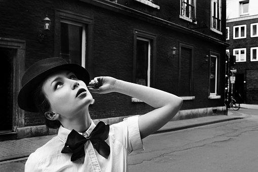 Black And White, Monochrome, Vintage, Woman, On, Street