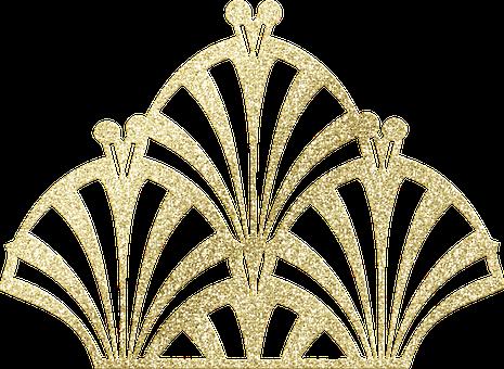 Gold Foil Art Deco, Art Nouveau, Line Art, Decorative