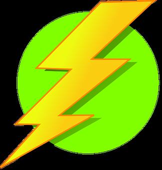 Lightning, Energy, Bolt, Green, Circle, Shadow, Symbol