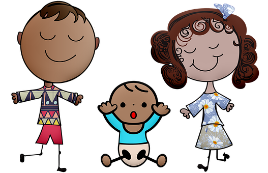 Stick Person, Boy, Girl, Children, Baby, Mom And Dad