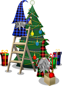 Scandia Gnomes, Trimming Christmas Tree, Buffalo Plaid