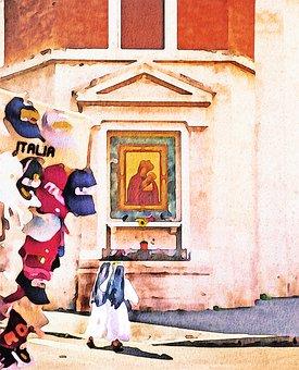 Watercolor Painting, Catholic, Nuns, Sisters, Madonna