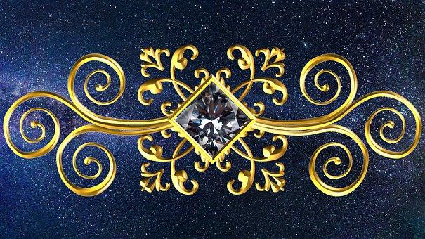 Gold, Square, Gem, Ornament, Golden, Yellow, Diamond