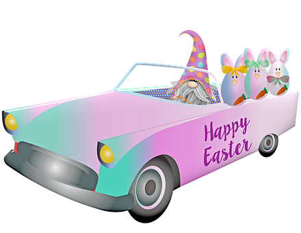 Easter Car, Gnome, Easter Bunnies, Easter, Happy Easter