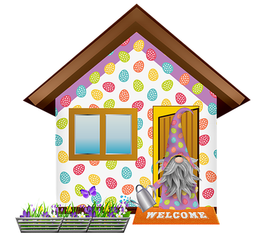 Easter Gnome, Easter Egg House, Gnome, Imp, Garden