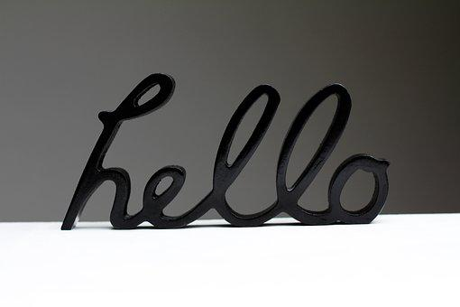 Hello, Shield, Welcome, Black, Lettering, Handwriting