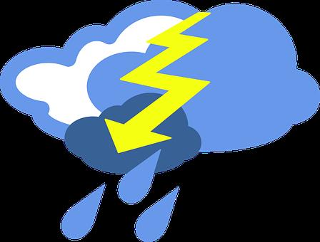 Lightning, Thunder, Cloudy, Rainy, Rain, Drops