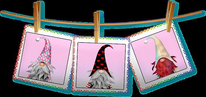 Valentine Gnome, Polaroid Pictures, Clothes Line