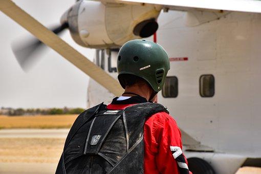 Sky Diving, Plane, Aviation, Sky, Airplane, Skydiving