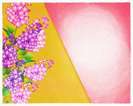 Lilac, Watercolor, Floral, Still Life, Vase, Flowerpot