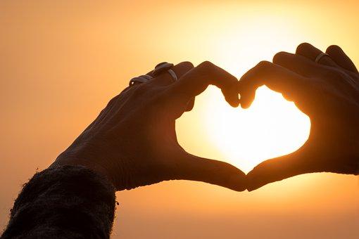 Heart, Sun, Hands, Sunset, Summer, Love, Symbol