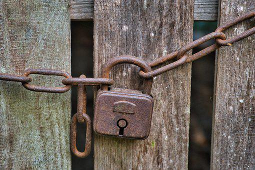 Castle, Padlock, Chain, Old, Rusty, Closed, Symbol