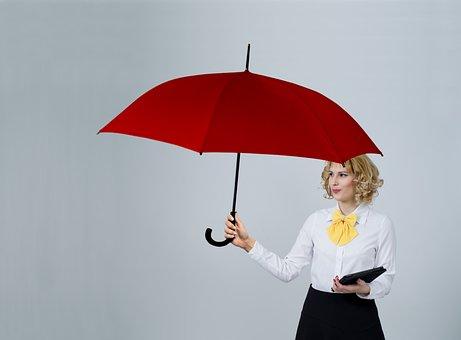 Woman, Umbrella, Business, Insurance
