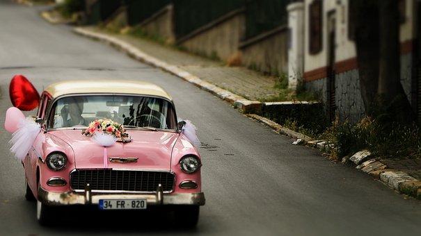 Cars, Wedding, Pink, Street, Nostalgia