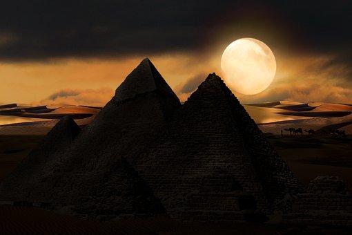 Background, Moon, Pyramid, Adventure, Desert, Full Moon