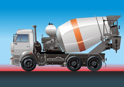 Truck, Concrete Mixer, Concrete, Mixer, Transport
