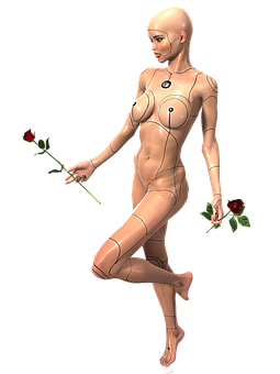 Woman, Cyborg, Rose, Naked, Female, Robot, Android