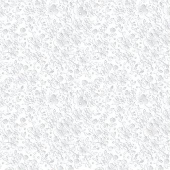 White Floral Background, Digital Paper