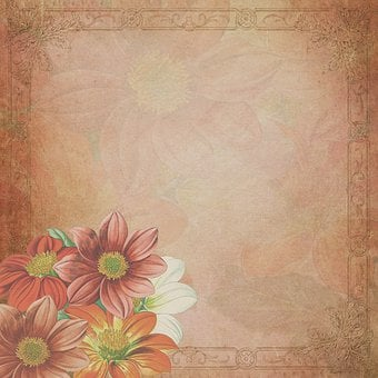 Vintage, Flowers, Frame, Dahlia