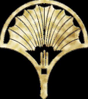 Art Deco Ornament, Gold Foil, Art Nouveau Woman