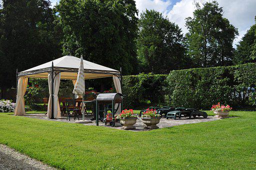 Bbq, Barbeque, Garden, Tent, Hedge, Summer, Flowers