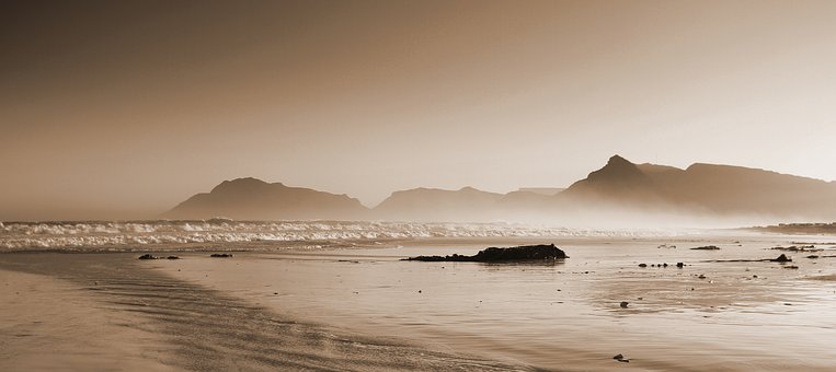 Beach, Kelp, Seaweed, Sea, Ocean, Mountains