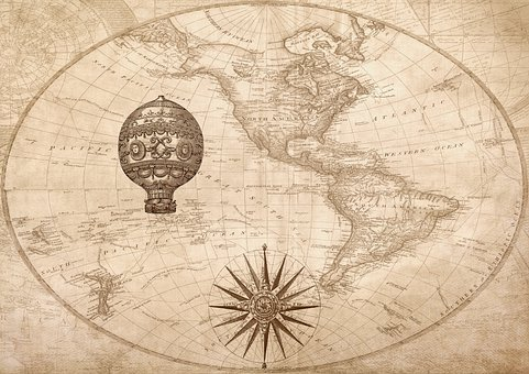 Compass, Map, Nautical, Antique