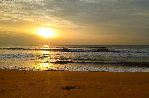 Sunrise, Beach, Sunset, Nature, Water, Ocean, Sea