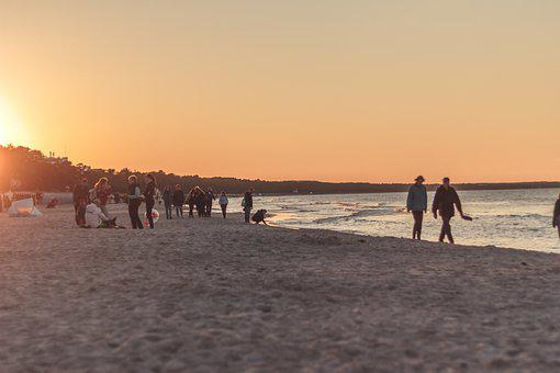 Sunset, Beach, Sea, Water, Rügen, Binz