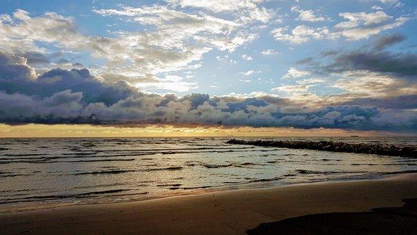 Sunset, Clouds, Sky, Sea, Landscape, Fantasy, Sun
