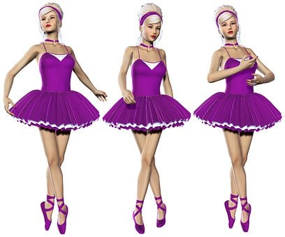 Ballerina, Purple, Group, Female, Poser, 3d, Graphics