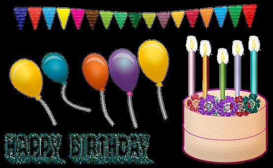 Birthday, Cake, Balloons, Happy Birthday, Bunting